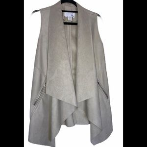 Bar III Light Gray Faux Leather and Suede Vest
